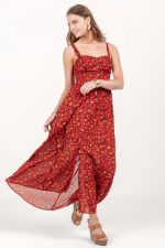 Aubree Cheetah Button Maxi Dress at francesca's
