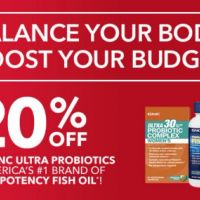 20% Off All GNC Ultra Probiotics & America's #1 Brand of High-Potency Fish Oil