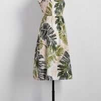 Embroidered Palm Print Fit & Flare Midi Dress