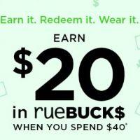 Earn $20 in rueBUCKS When You Spend $40