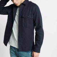 Linen Blend Military Button Front Shirt