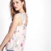 Floral Print Cut-Out Crochet Blouse
