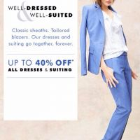 Up to 40% Off All Dresses & Suiting