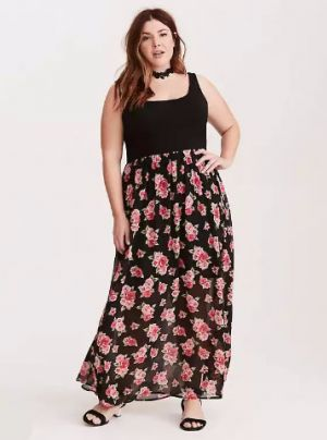 floral-chiffon-skirt-knit-top-maxi-dress