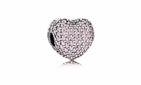 Pink Pavé Open My Heart Charm