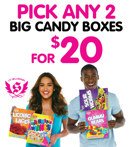 Pick 2 BIG Candy Boxes for $20!