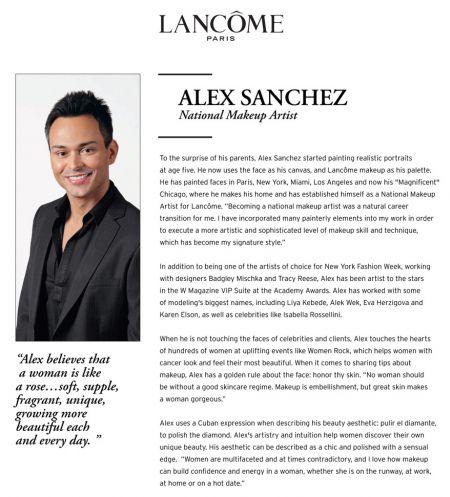 Lancôme National Makeup Artist Alex Sanchez in store April 8