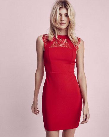 Sleeveless Lace Yoke Sheath Dress
