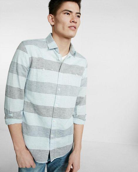 Soft Wash Stripe Linen-Blend Shirt at Express