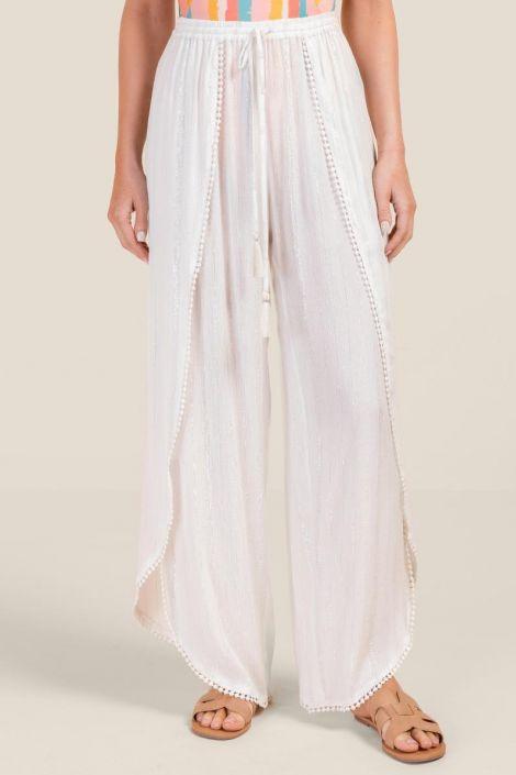Brenna Lurex Cover-Up Pants at francesca's