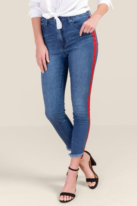 Melody Mid Rise Side Stripe Jeans at francesca's