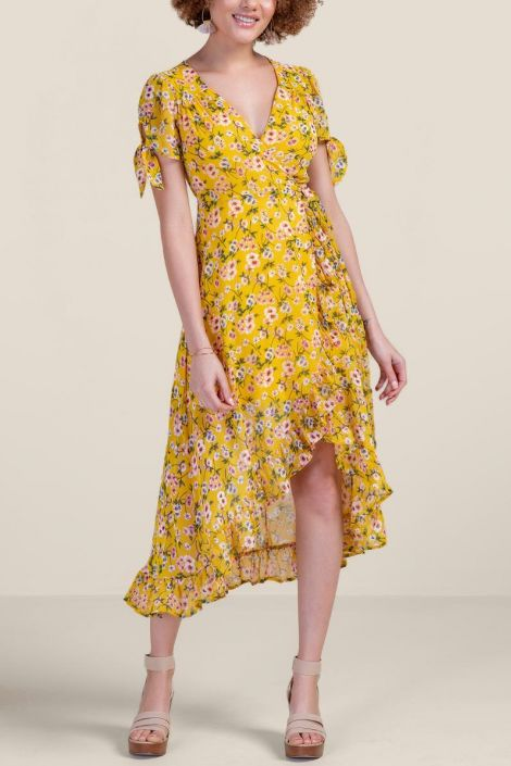 Deandra Tie Sleeve Midi Dress at francesca's