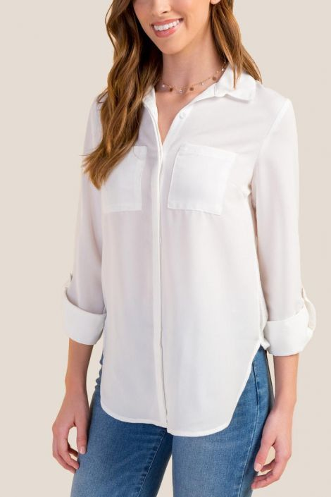 Lila Pocketed Button Down Top at francesca's
