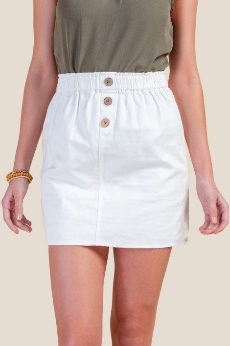 Rosie Button Front Mini Skirt at francesca's