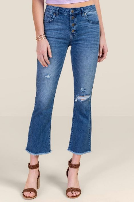 Harper Heritage High Rise Cropped Flared Jeans at francesca's