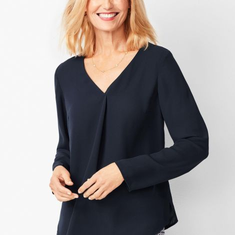 V-NECK PLEATED TOP - SOLID at Talbots