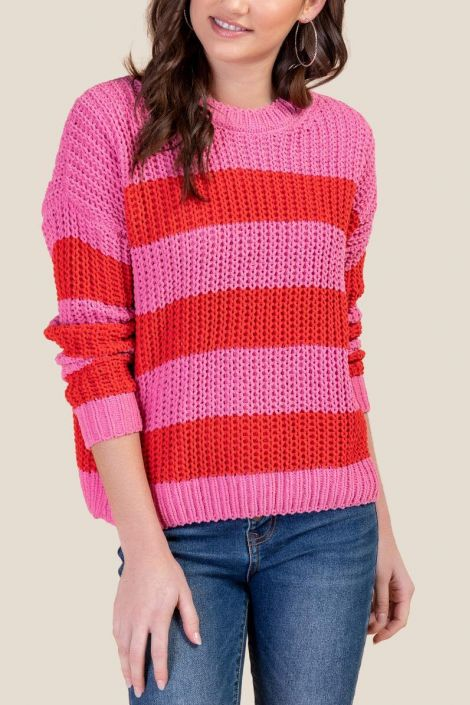 Evelyn Striped Pullover Sweater at francesca's