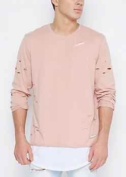 Pink Ripped Layered Longline Tee at rue21