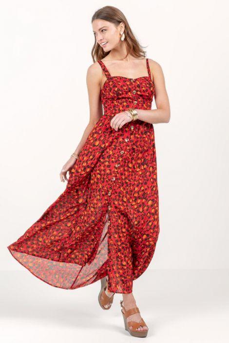Aubree Cheetah Button Maxi Dress at francesca's