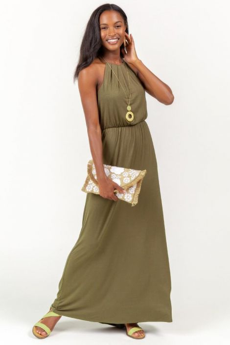 Flawless Knit Maxi Dress in Olive at francesca's
