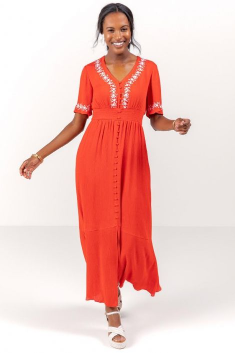 Giselle Embroidered Maxi Dress at francesca's