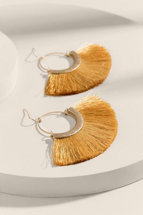 Alyssa Tasseled Circle Drop Earrings at francesca's