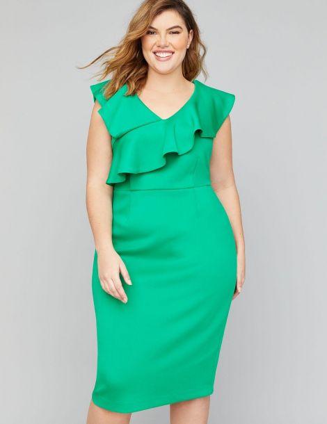 Scuba Ruffle Sheath Dress at Lane Bryant
