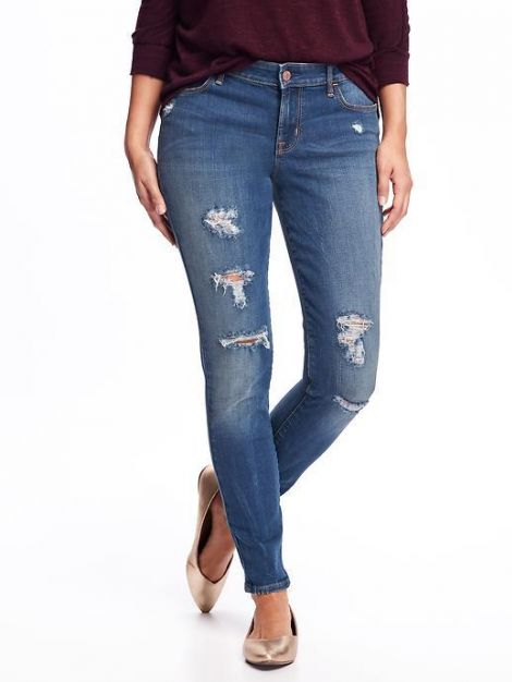 Mid-Rise Distressed Rockstar Jeans for Women at Old Navy