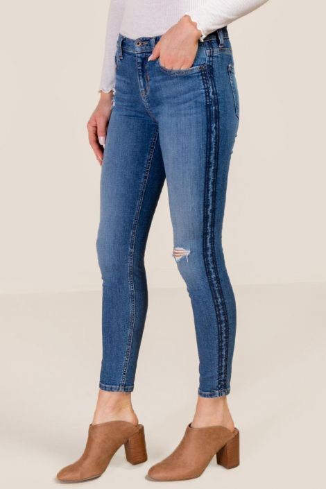 Kelly Mid Rise Tonal Stitch Side Stripe Skinny at francesca's