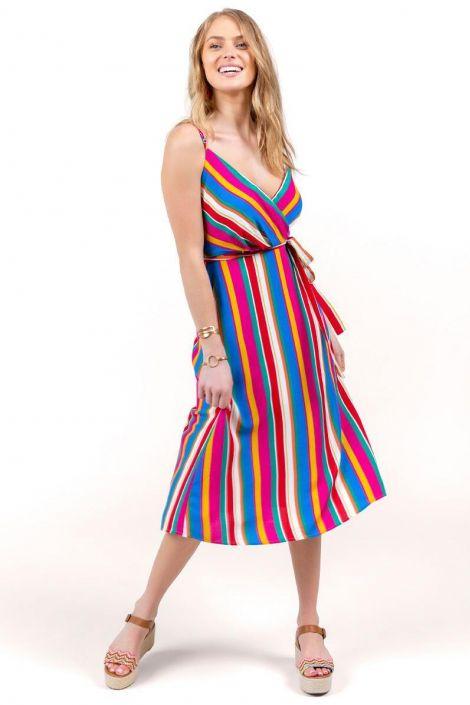 Raquel Striped Midi Dress at francesca's