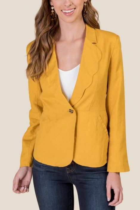 Meredith Scalloped Lapel Blazer at francesca's