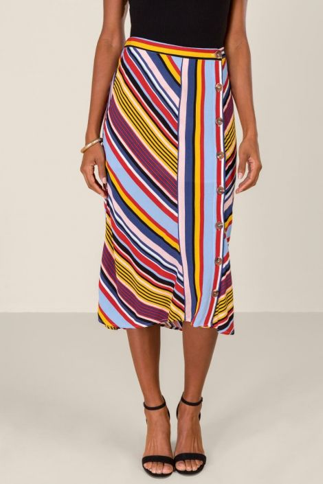 Riley Striped Button Front Midi Skirt at francesca's