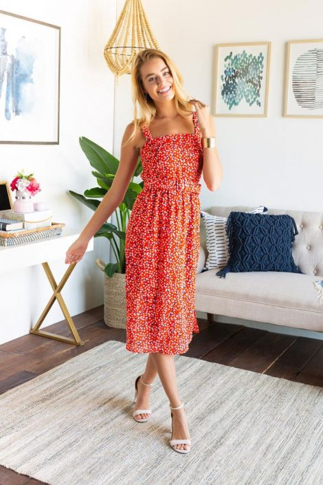 Ella Belted Printed Midi Dress at francesca's