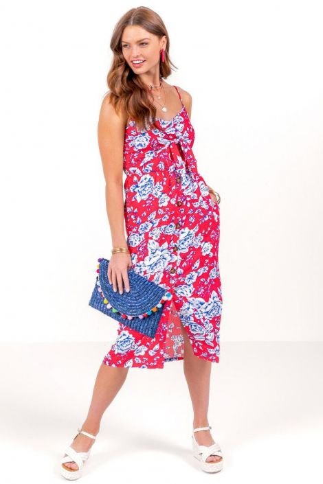 Camila Floral Front Tie Midi Dress at francesca's