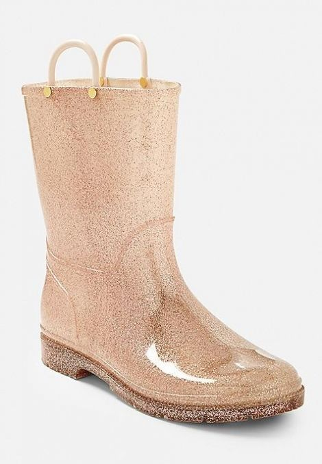 glitter jelly rain boots at Justice