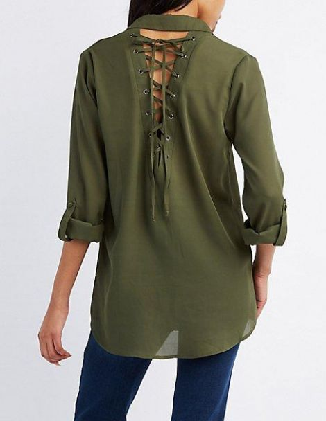 Lace-up Back Button-up Blouse at Charlotte Russe