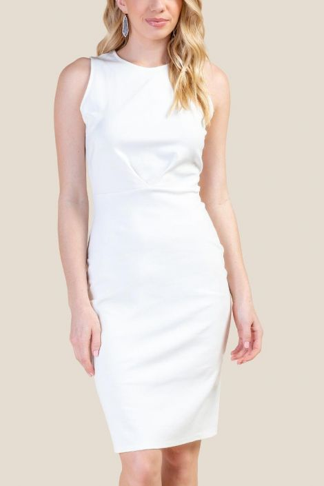Kristie Pleated Front Sheath Dress at francesca's