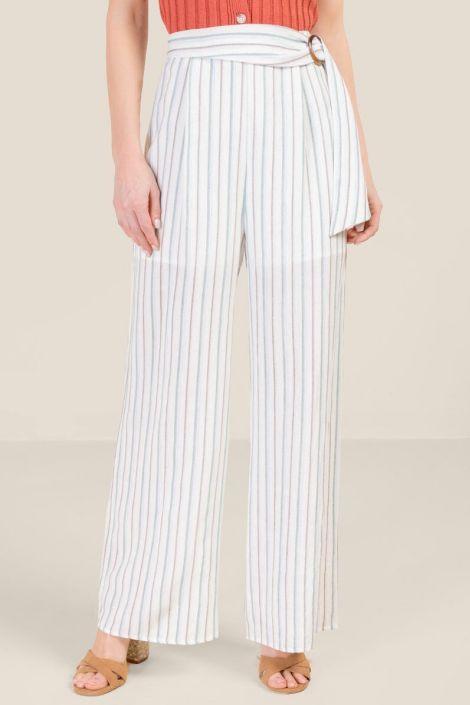 Brooke Belted Palazzo Pants at francesca's