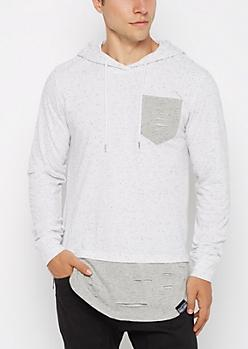 White Ripped Tonal Hooded Sweatshirt at rue21