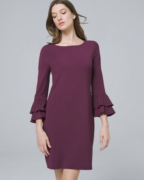 TIERED-SLEEVE KNIT SHIFT DRESS at White House | Black Market
