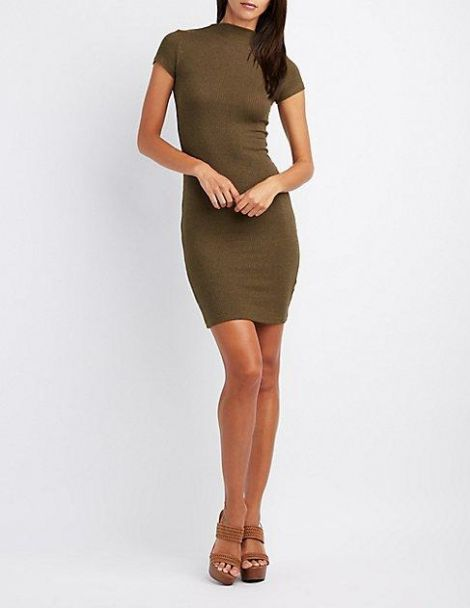 Ribbed Mock Neck Midi Dress at Charlotte Russe