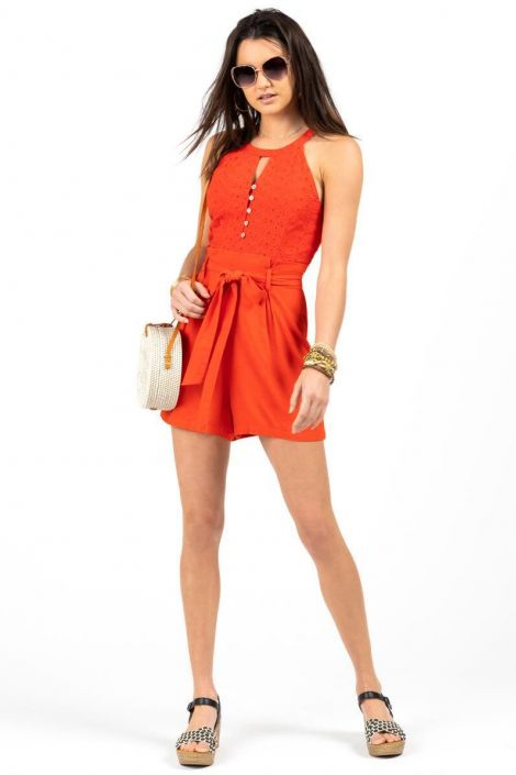 Whitney Eyelet Paperbag Romper at francesca's