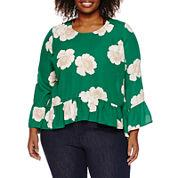 A.n.a Long Sleeve Crew Neck Woven Blouse-plus at JCPenney
