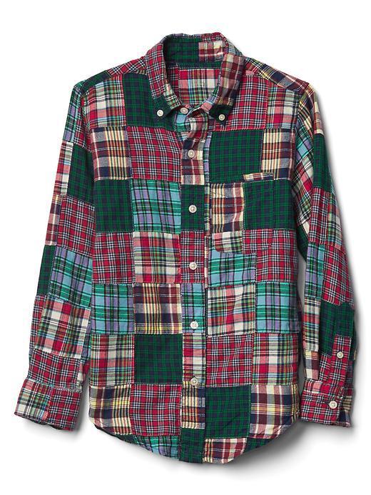 Festive patchwork flannel shirt