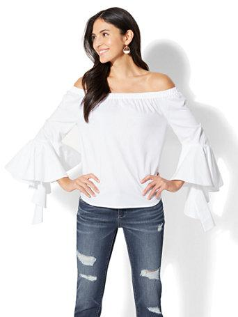 Ny&c: Flounced Off-the-shoulder Shirt - White