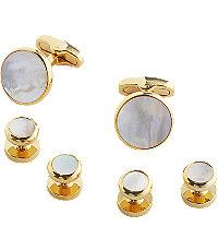 Jos.a.bank Silver & Mother-of-pearl Cufflinks & Studs Set