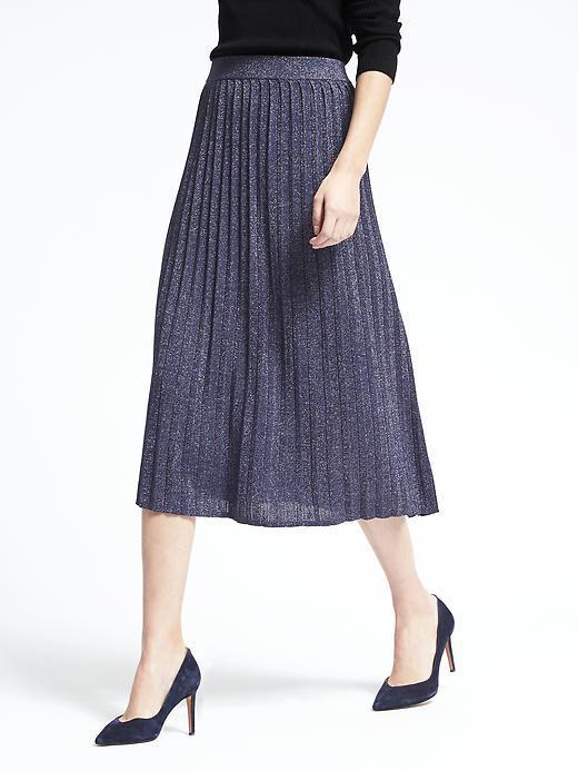 Pleated Metallic Midi Skirt