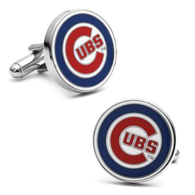 Men's Mlb Chicago Cubs Logo Enamel Cuff Links In White Rhodium Plated Brass