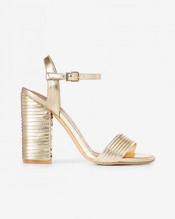 Pleated Metallic Heeled Sandal
