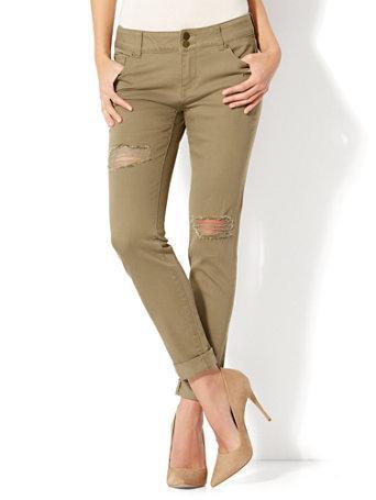 Ny&c: Soho Jeans - Destroyed Boyfriend - Olive